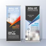 Vertical Roll Up Banner Template Design for Announce and Adverti Stock Image
