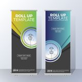 Vertical Roll Up Banner Template Design for Announce and Adverti Royalty Free Stock Photos