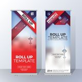 Vertical Roll Up Banner Template Design for Announce and Adverti Royalty Free Stock Image