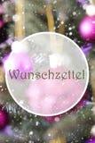 Vertical Rose Quartz Balls, Wunschzettel Means Wish List. German Text Wunschzettel Means Wish List. Vertical Christmas Tree With Rose Quartz Balls. Close Up Or Stock Photos