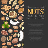 Vertical seamless background with colored nuts and seeds Royalty Free Stock Image