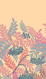Vertical seamless background with red berries and branches of ripe rowan. Hand drawn illustration Royalty Free Stock Images