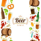 Vertical seamless borders of beer Stock Image