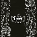 Vertical seamless borders of beer icons on black background Stock Images