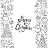 Vertical seamless borders with Christmas icons. Monochrome sketch style Christmas illustration for decoration. Vector Royalty Free Stock Photography
