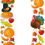 Vertical seamless borders with Thanksgiving icons Royalty Free Stock Photography