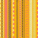Vertical Seamless colorful pattern with geometric shapes. Triang. Les, crosses, circles. line in Hand drawn style for fashion ,fabric and every prints on orange Vector Illustration