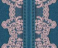 Vertical seamless denim background with lace. Royalty Free Stock Photos