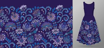 Vertical seamless fashion background. Women`s long dress mock up with bright seamless hand drawn pattern for textile vector illustration