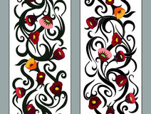Vertical seamless floral border. Vector seamless pattern with hand drawn vertical floral branches. Beautiful design elements, vintage colors. for prints and royalty free illustration