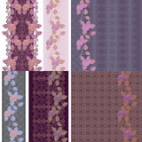 Vertical seamless lace border - natural pattern with roses. vector illustration