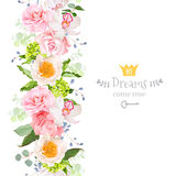 Vertical seamless line garland with camellia, rose, peony, orchid, carnation, hydrangea, green leaves and blue berries. Cute garden floral vector design frame vector illustration