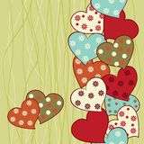 Vertical seamless pattern with hearts in vector  Stock Photo