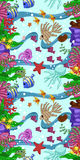 Vertical seamless pattern with marine life: fish, starfish, jellyfish, seaweed, shells, bubbles and corals. Hand draw art. Vertical seamless pattern with marine Royalty Free Stock Photos