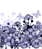 Vertical seamless pattern of purple poppies and flowers Stock Image