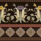 Vertical seamless pattern, victorian style. Vintage floral wallpaper. Vertical seamless pattern, victorian style. Vintage floral colorful wallpaper Stock Images