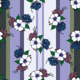 Vertical seamless patterns with provence flowers. Vertical seamless pattern with spring provence flowers - lavender, hydrangea, anemones on the striped Royalty Free Stock Images