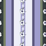Vertical seamless patterns with provence flowers. Vertical seamless pattern with spring provence flowers - lavender, hydrangea, anemones on the striped Royalty Free Stock Image