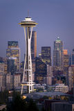 Vertical Seattle Skyline Space Needle Dusk Night Stock Photo