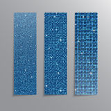 Vertical set Blue sequins banners. Glitter. Stock Photography