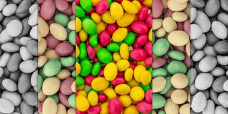 Vertical set of candy set bright contrast gray monochrome pink dragee yellow green base stock image