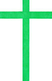 Vertical set - two crossing green satin ribbons Stock Photography