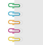Vertical sheet paper clips Stock Photo