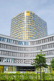 Vertical shot of ADAC emergency rescue association headquarters Stock Photo