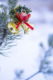 Vertical shot of christmas decoration on natural fir Royalty Free Stock Image