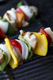 Chicken kabob cooked angle Royalty Free Stock Photos