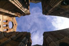 San Galgano Abbey, sky and clouds stock images