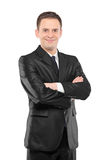Vertical shot of a happy businessman Royalty Free Stock Photos
