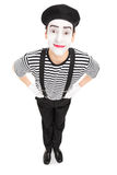 Vertical shot of a joyful mime artist Stock Images