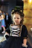 A vertical shot of little model in a cat costume royalty free stock photography