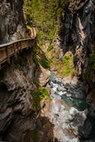 Vertical shot of path in Gorner Gorge with river Stock Image