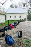 Vertical Shot Row of Backpacks in Smoky Mountains National Park Royalty Free Stock Image