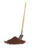 Vertical shot of shovel stuck in a pile of dirt Stock Photos