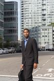 Vertical shot of young African American man in business suits, l. Ooking sharp and confident, photographed in NYC in September 2017 Royalty Free Stock Photography