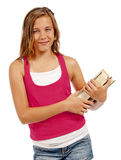 Female Smiling At Camera While Holding Books Isolated Royalty Free Stock Photos