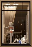 Showcase with male and female mannequins stock illustration