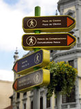 Vertical signal for pedestrian in Madrid. Spain Stock Images