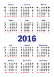 Vertical simple calendar for 2016 Royalty Free Stock Photo