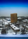 Vertical skyscrapper in Moscow suburbs background Stock Image
