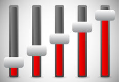 Vertical sliders, adjusters or faders, levers. User inteface UI, Stock Images