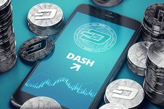 Vertical smartphone with Dashcoin growth chart on-screen among piles of silver Dashcoins. Dashcoin growth stock illustration