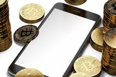 Vertical smartphone display with space for random design surrounded by Bitcoin piles. stock illustration