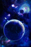 Vertical space. Two planets, dark blue color
