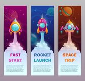 Vertical space banners set. Rocket launch marketing illustration. Vector typography design templates with cartoon spaceships Royalty Free Stock Photography
