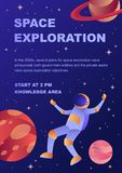 Vertical space exploration conference flyer template. With a spaceman and planets in outer space for web and printing stock illustration