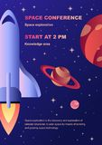 Vertical space exploration conference flyer template with a spaceship and planets. In outer space for web and printing royalty free illustration